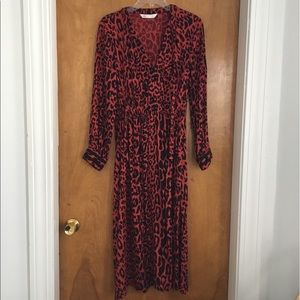 Zara Red Animal Print Midi Dress